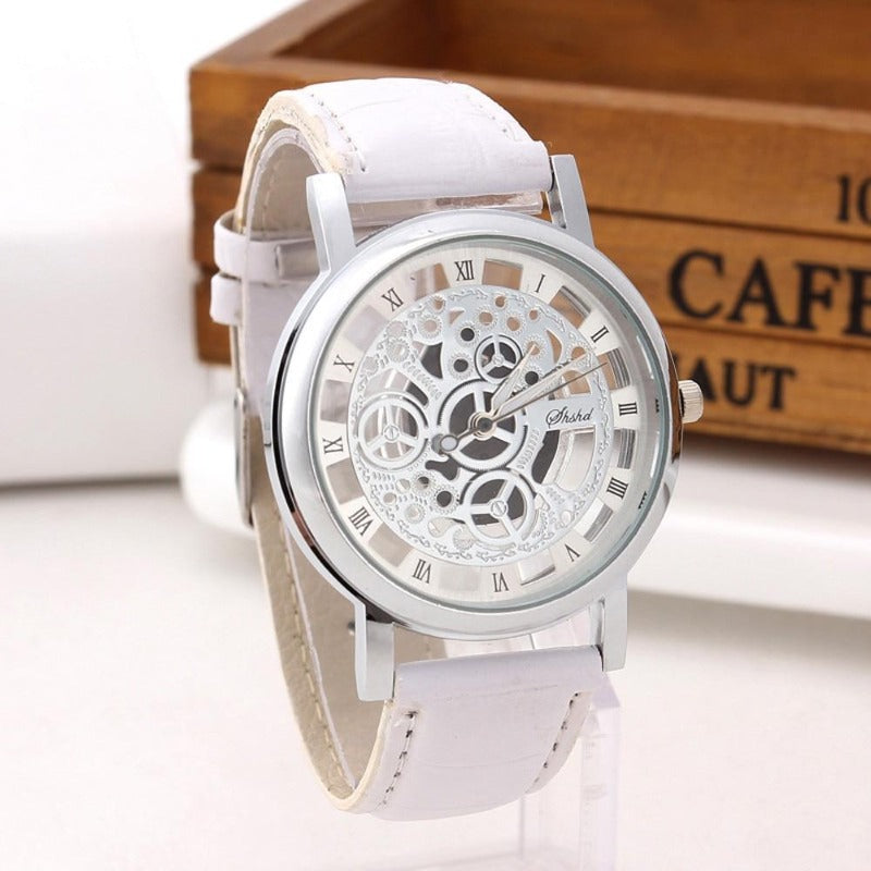 Men's Leather Skeleton Watch