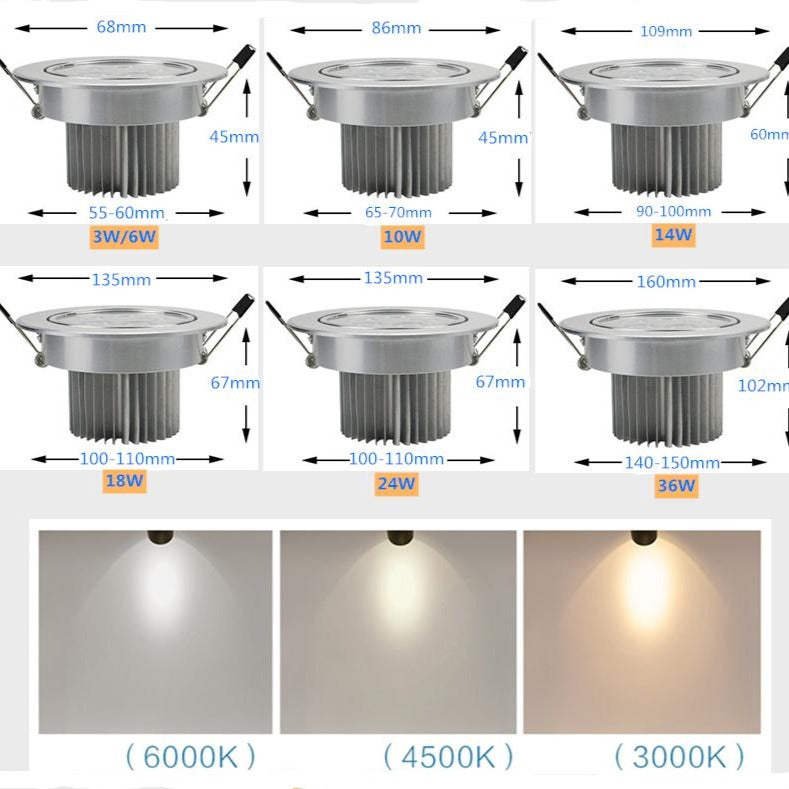 LED Round Dimmable Recessed Lighting LED Indoor Lighting