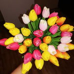 10 Tulip Heads - Colorful Artificial Bouquet