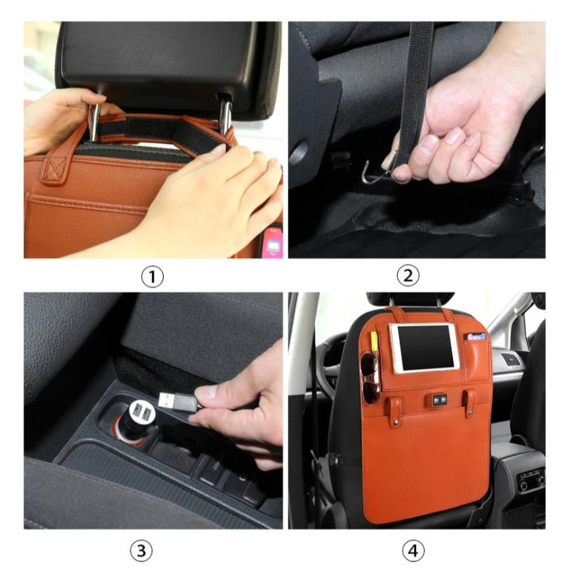 Car Auto Seat Back Protector Cover with 2 USB Plugs