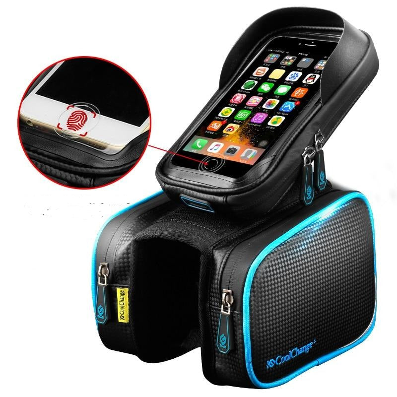 Waterproof Bicycle Frame Cell Phone Holder With Storage