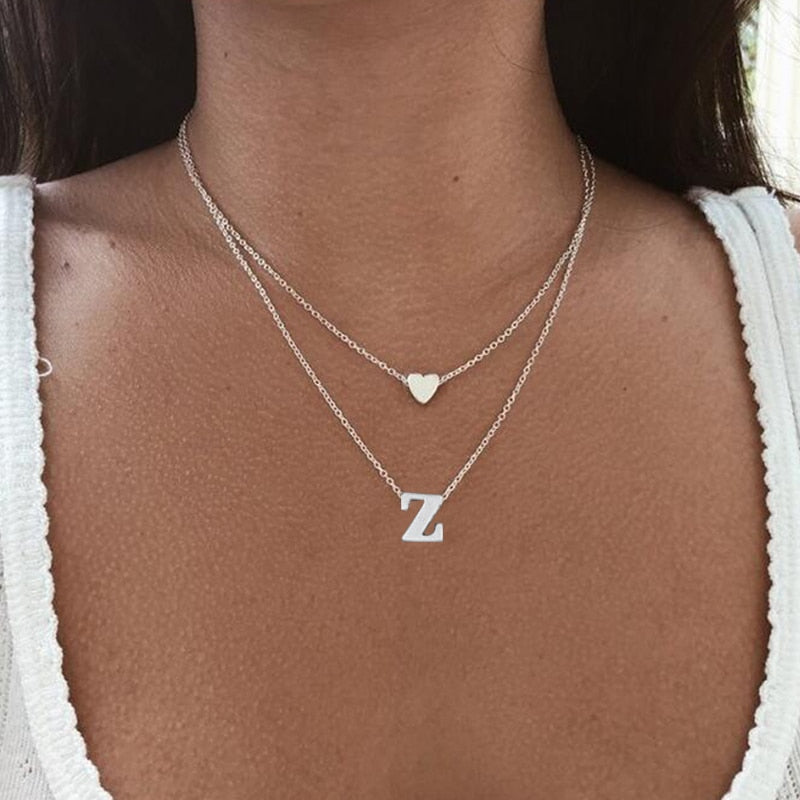 Women's Personalized Initial Heart Necklace - Silver