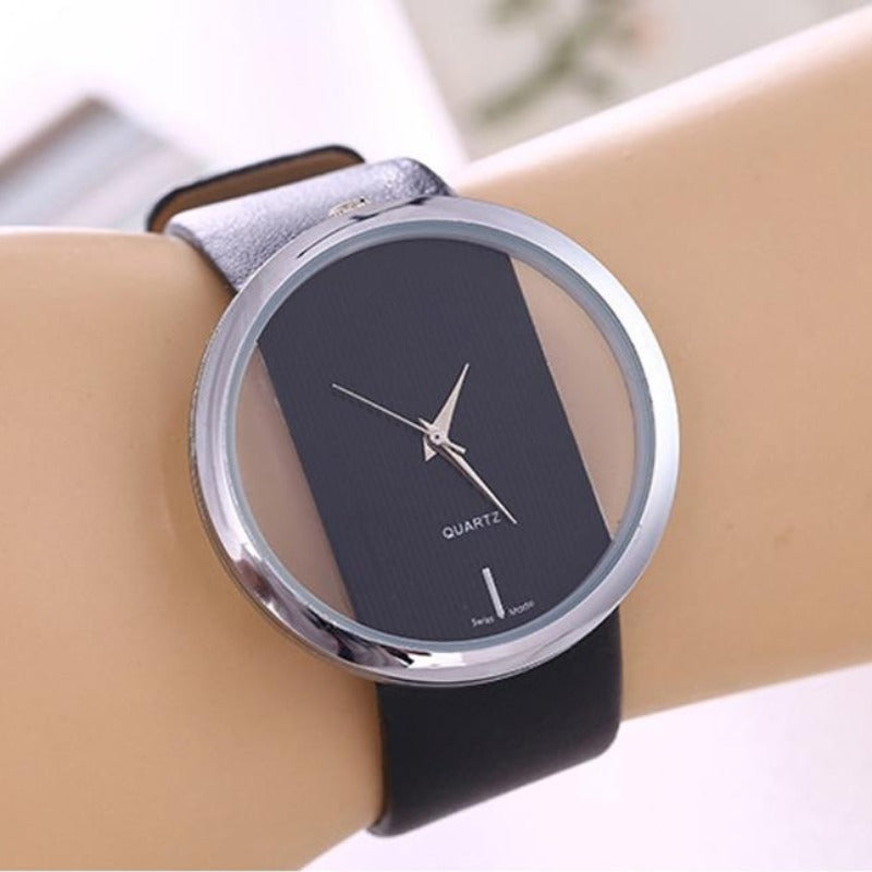 Ladies Leather See-Thru Face Quartz Watch