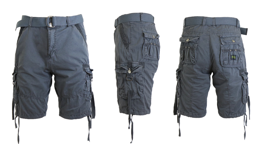 Men's Belted Cotton Cargo Shorts - Larger Sizes