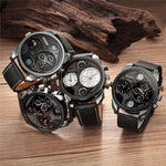 Men's Luxury Stainless Steel Genuine Leather Military Watch