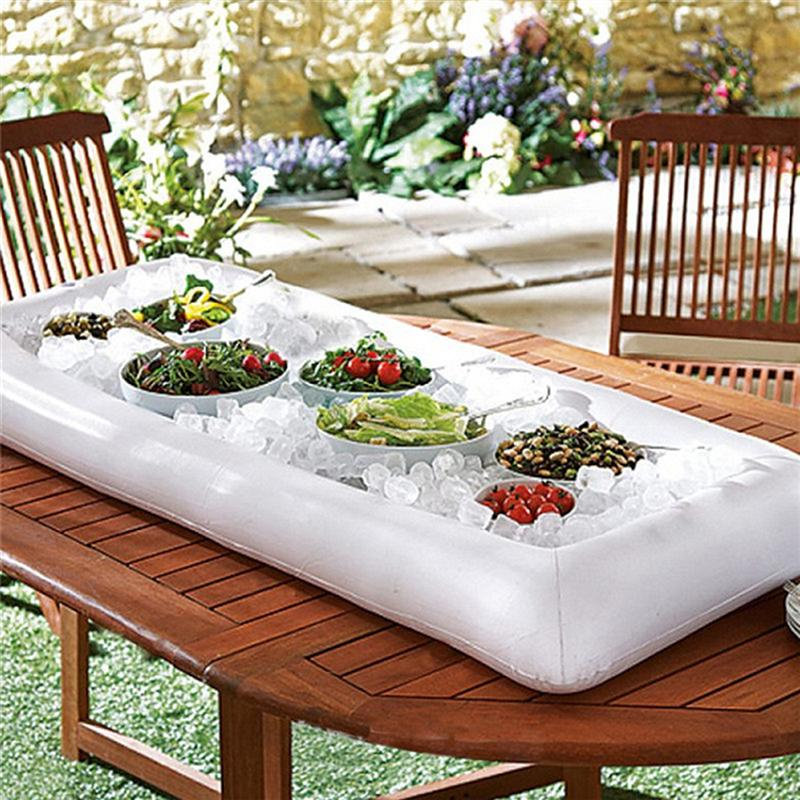 3 Pack: Inflatable Ice Serving Buffet Bar with Drain Plug