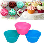 24 Pack Silicone Multi-Color Reusable Nonstick Cupcake Muffin Cup Liners