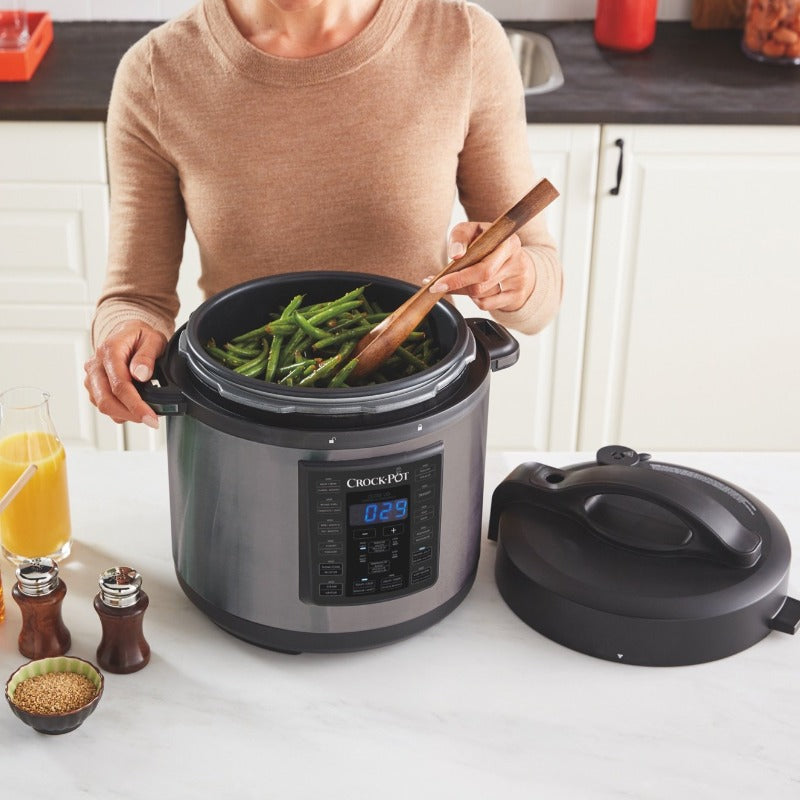 8-in-1 Stainless Steel Crock-Pot 6 Qt Multi-Use Express Crock Programmable Slow Cooker, Pressure Cooker, Saute, and Steamer