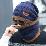 Acrylic Fur Lined Knitted Beanie and Neck Warmer