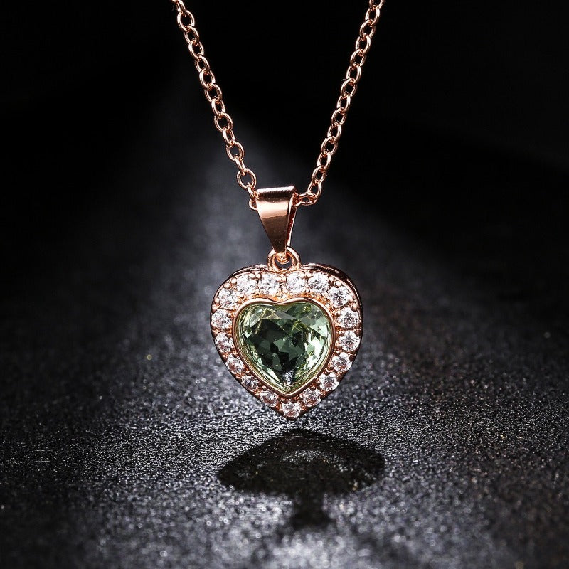18K Rose Gold Heart Necklace with Pendant