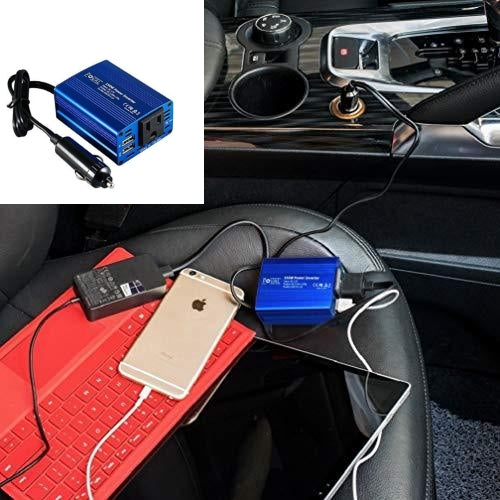 150W Car Outlet Power Converter with 3.1A Dual USB Charge Ports
