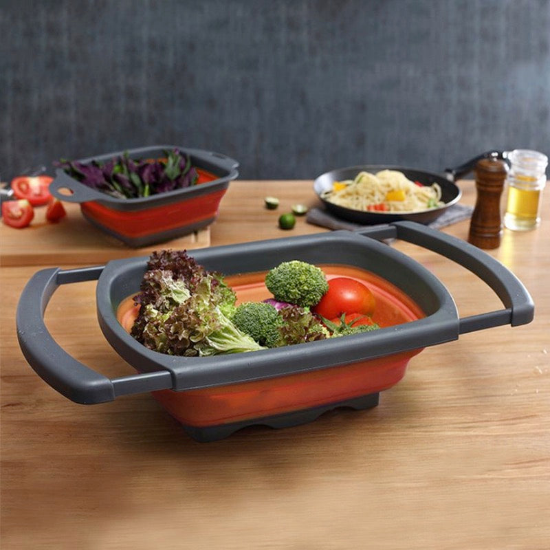 Over The Sink Silicone Collapsible Colander with Adjustable Extending Handles