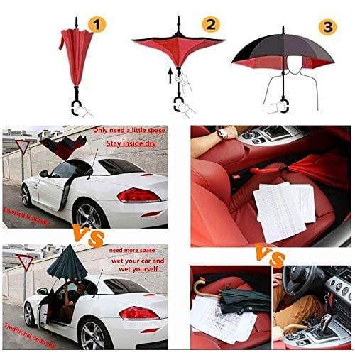 Double Layer Inverted Reverse Folding Windproof UV Protection Umbrellas with C-Shaped Handle