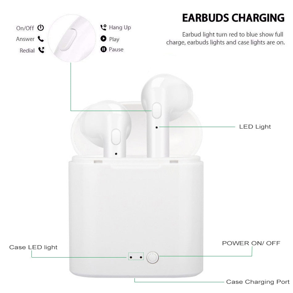 i7s Mini Wireless Bluetooth 5.0 Earphones In-Ear Stereo Earbuds
