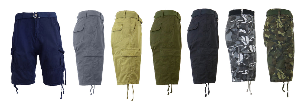 Men's Distressed Belted Cotton Cargo Shorts