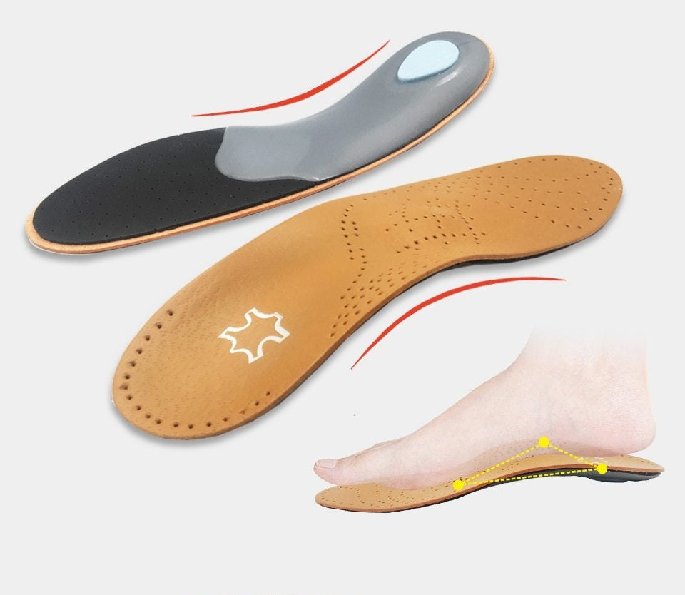 Leather Orthopedic Flat Foot Arch Support 2.5 cm Silicone Insoles
