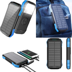 16000mAh Waterproof Solar LED Flashlight With Qi Wireless Charger And 2 USB Ports