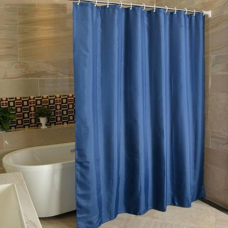 Navy Blue Polyester Bathroom Waterproof Shower Curtains With Plastic Hooks