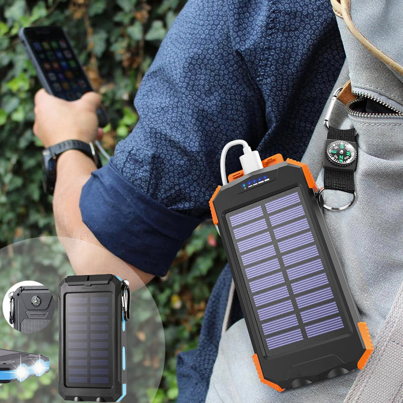 Portable Solar Powered Waterproof LED Powerbank Charger