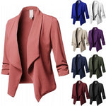 Women's Casual Slim Long Sleeve Pleated Jacket