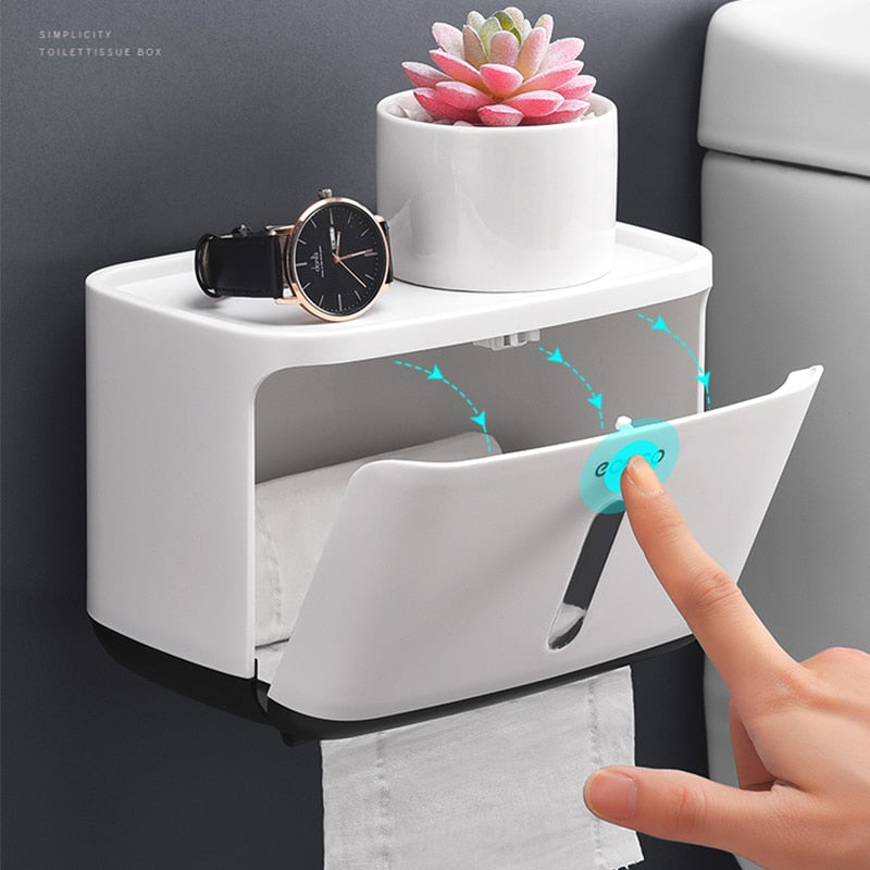 Wall Mounted Waterproof Toilet Paper Holder with Compartment Being Closed