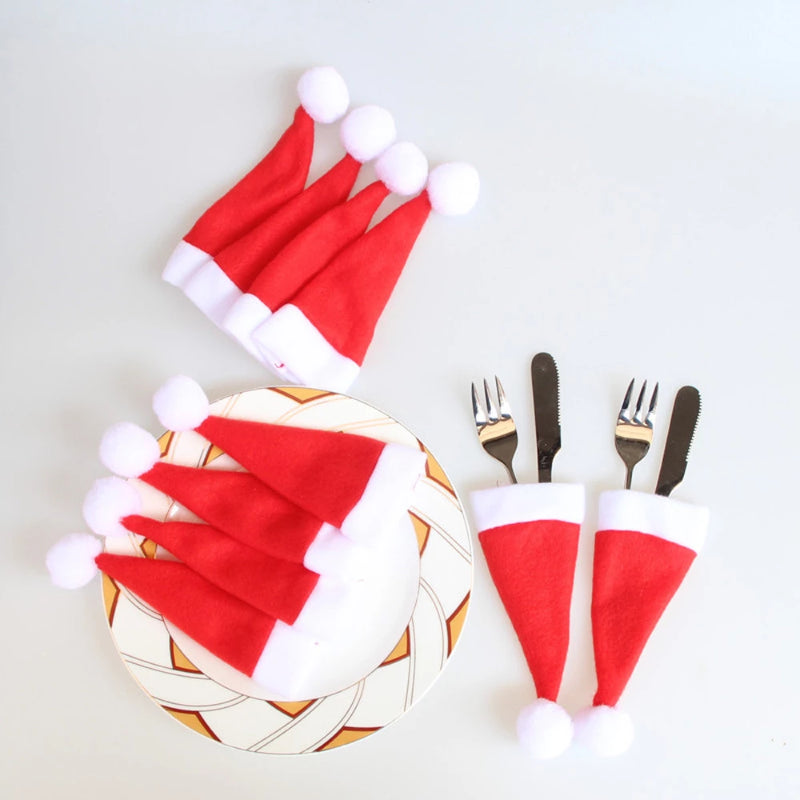 10PCS Christmas Cap Cutlery Holder