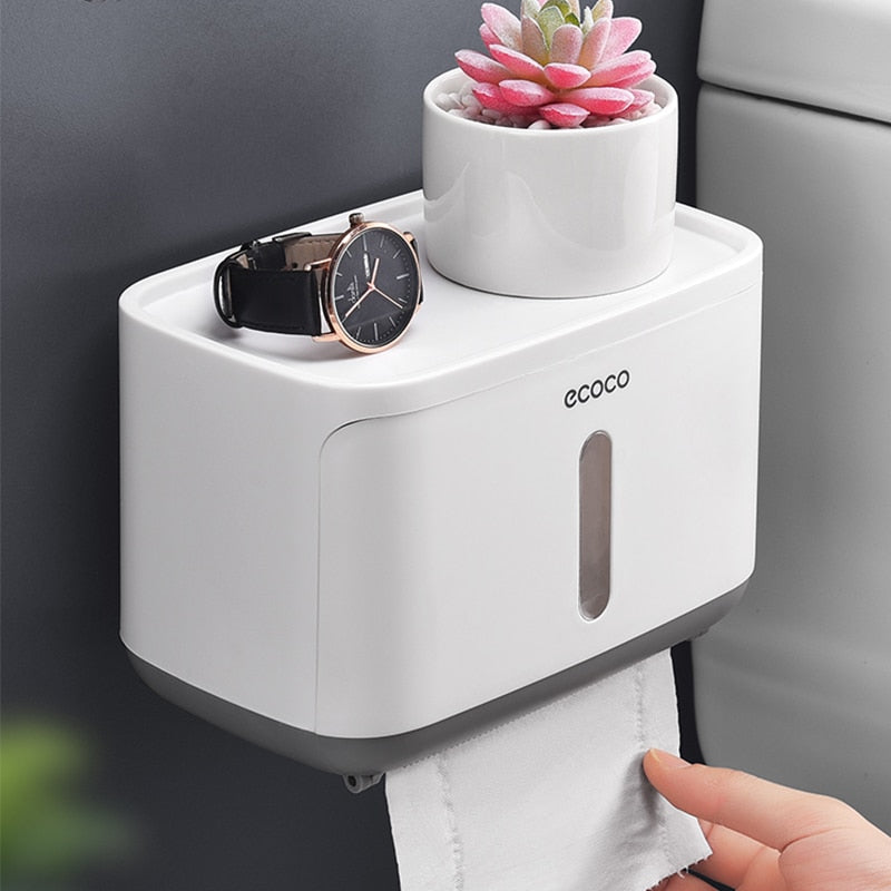 Wall Mounted Waterproof Toilet Paper Holder with Paper Being Pulled Out