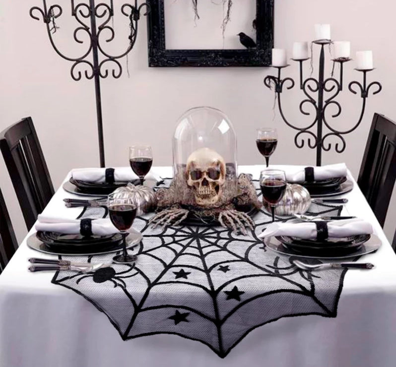 Halloween Black Lace Spiderweb Table Cloth