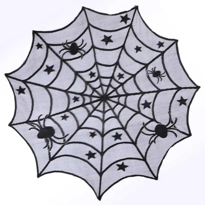 Halloween Black Lace Spiderweb Table Cloth with Close Ups of Features