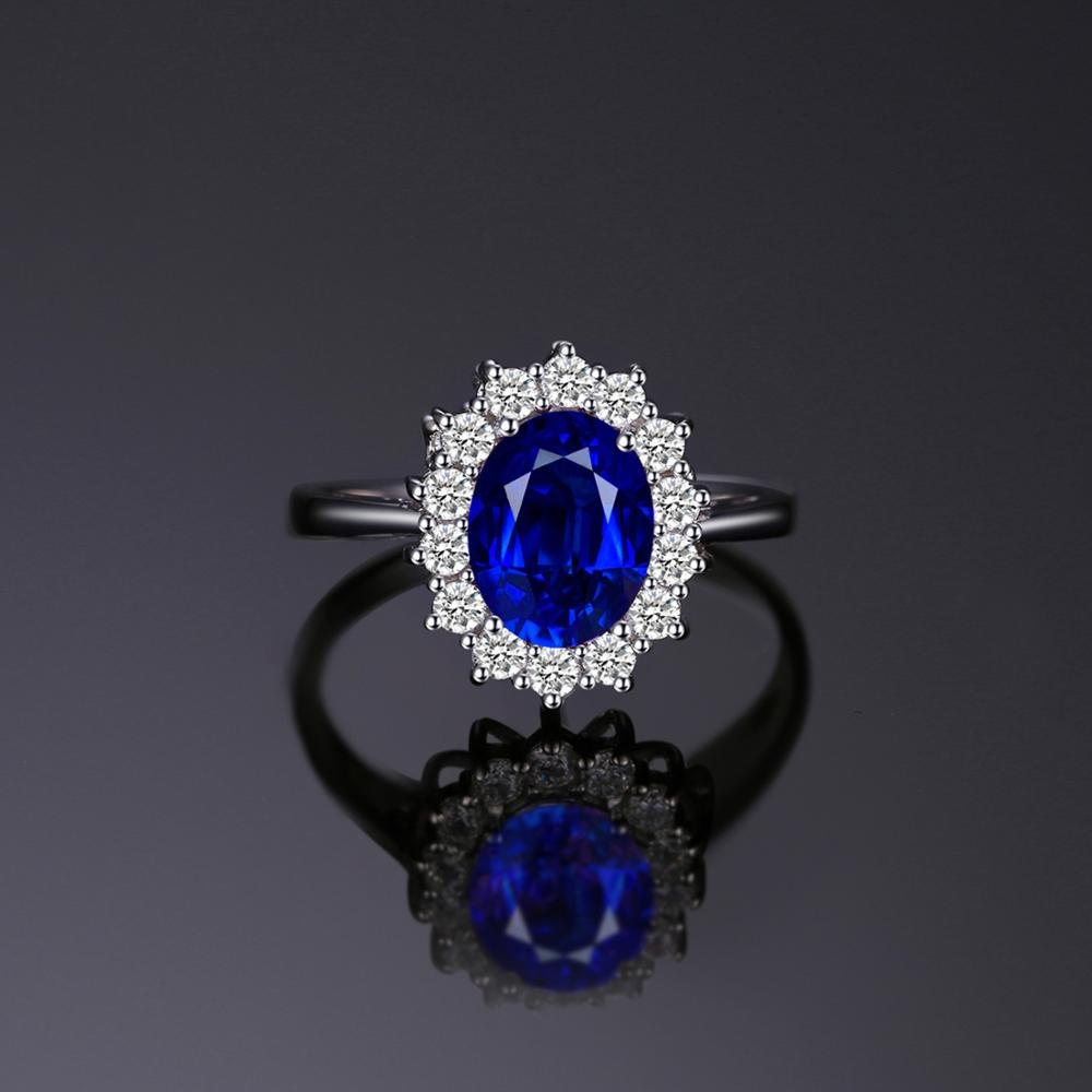 Created Blue Sapphire Ring Princess Crown Halo Engagement Wedding Rings 925 Sterling Silver Ring
