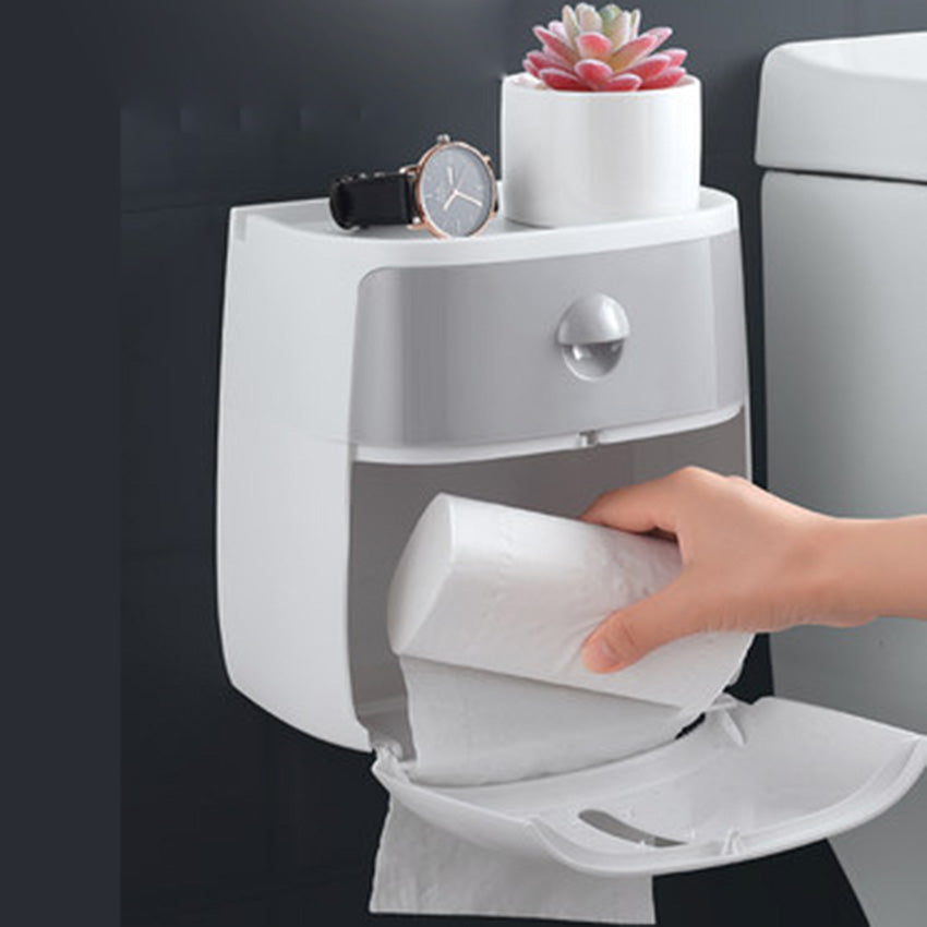 Unique Wall Mounted Toilet Paper Holder and Bathroom Shelf