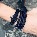 Men's 4Pcs/ Set Braided Wrap Leather Vintage Style Bracelets