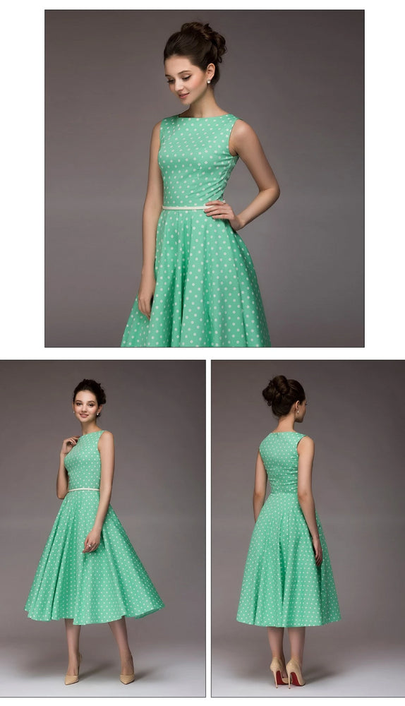 Green Vintage Style Sleeveless Summer Dress
