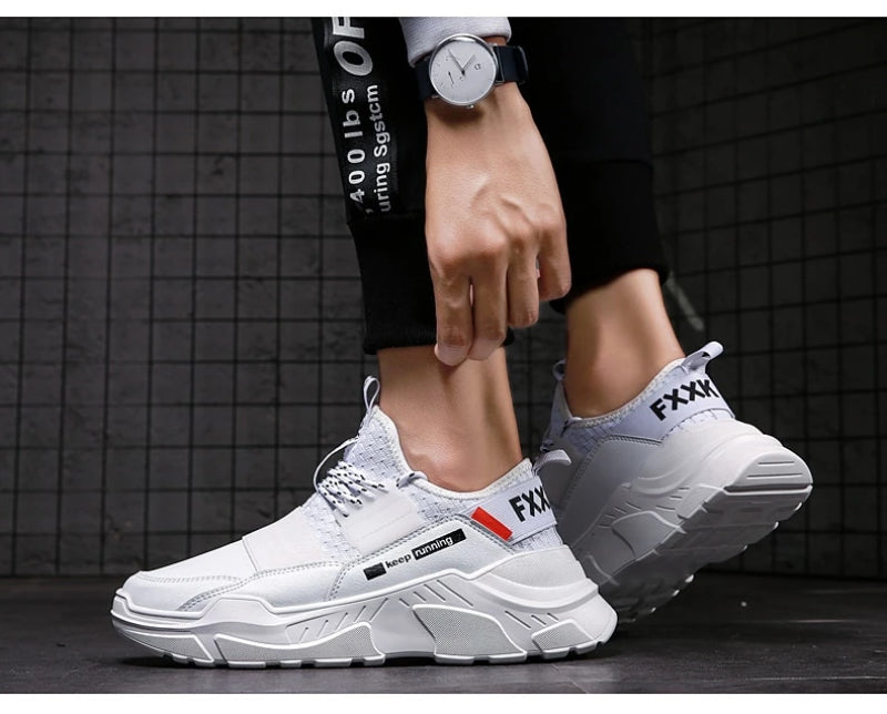 White Men's Lace-up Non-Slip Breathable Sneakers