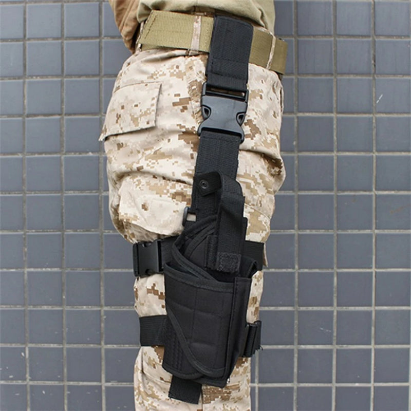 Black Universal Adjustable Tactical Gun Leg Holster on Person