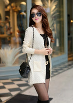 Beige Women's Knitted Long Cardigan With Pockets on Woman