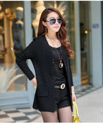 Black Women's Knitted Long Cardigan With Pockets on Woman