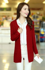 Red Women's Knitted Long Cardigan With Pockets on Woman