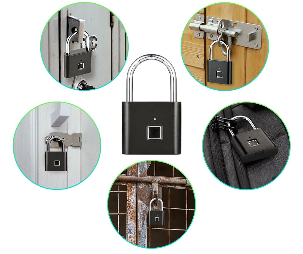 Fingerprint Anti-Theft Lock Smart Padlock Thumbprint Door Padlocks