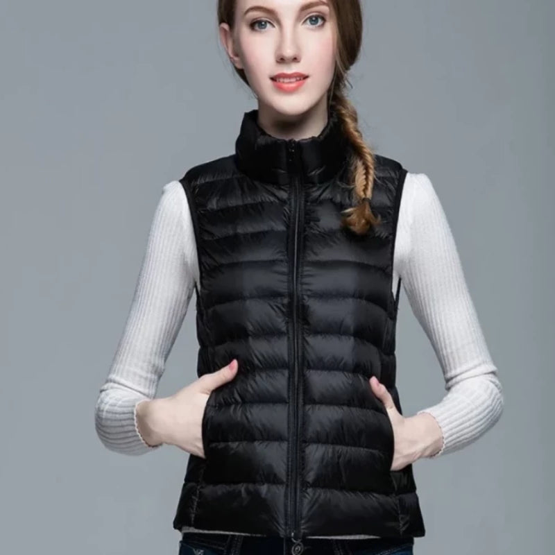Red Women's Ultra Light Duck Down Vest