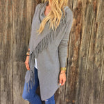 Front of Gray Women's Casual Loose Long Sleeve Irregular Hem Tassel Cardigan Poncho