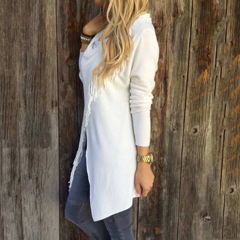 White Women's Casual Loose Long Sleeve Irregular Hem Tassel Cardigan Poncho