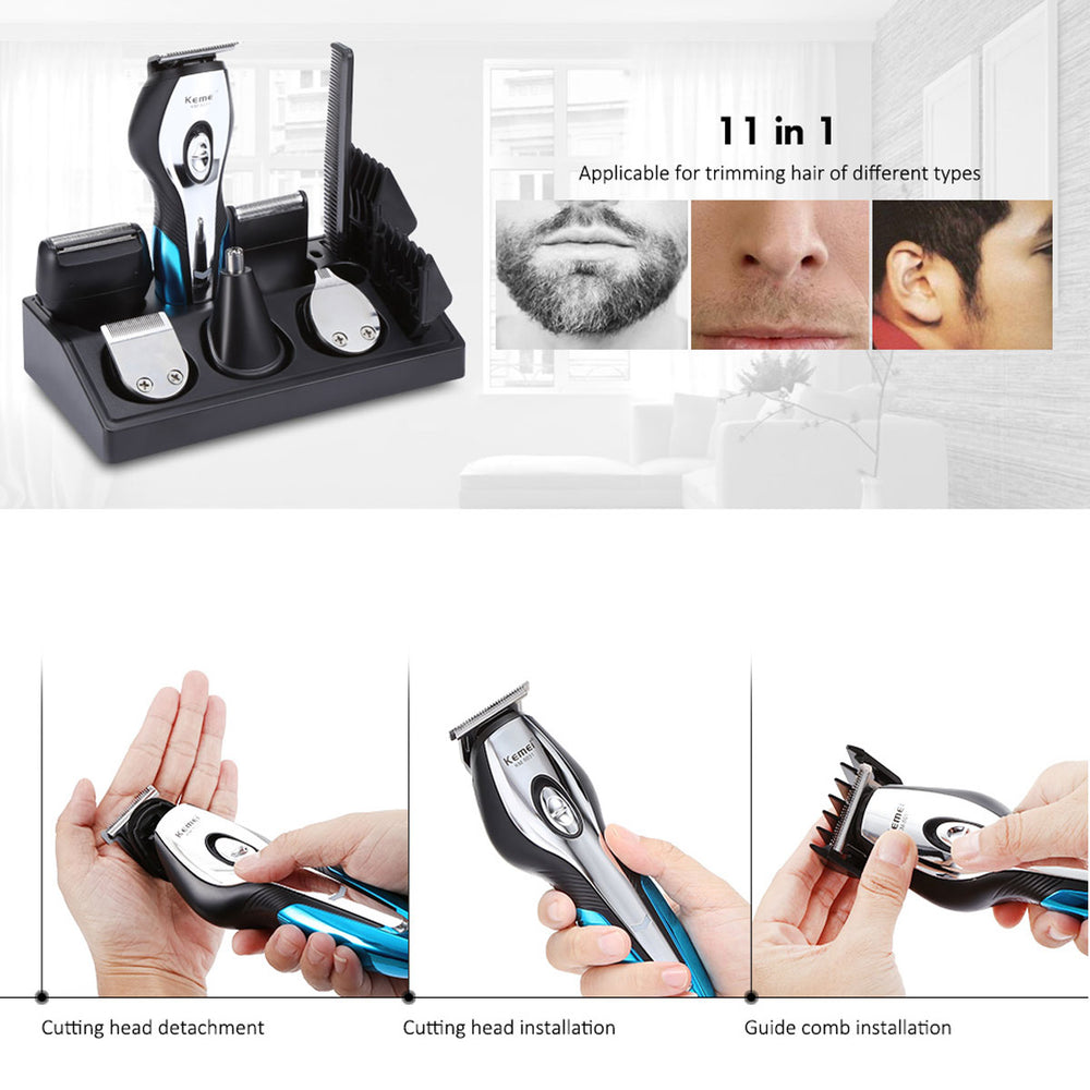 Rechargeable Electric Hair Trimmer 11 in 1 Clipper Electric Shaver