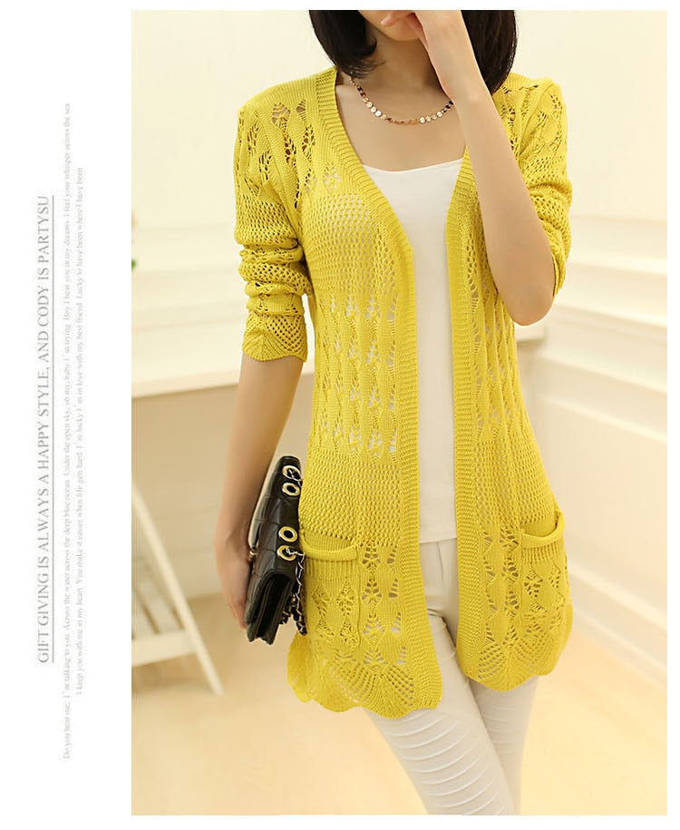 Beige Women's Knitted Loose Cardigan with Pocket & Hollow Long Sleeves