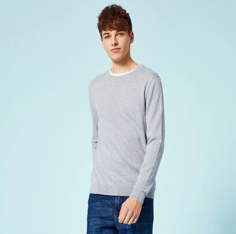 Men's Long Sleeve Knitted Wool Pullover Sweater