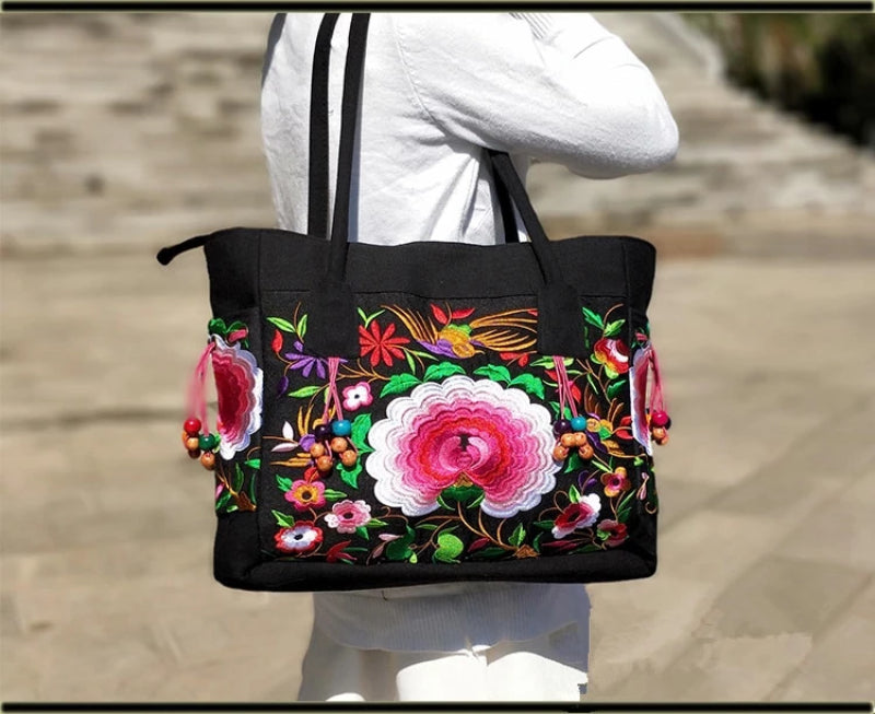 Pink Flower Women's Floral Embroidered Canvas Versatile Casual Tote