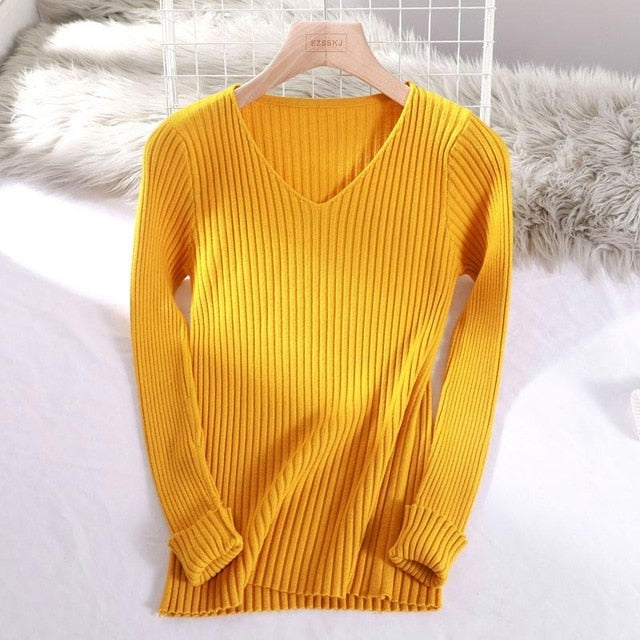 Ladies Basic V-Neck Ribbed Solid Pullover Sweater