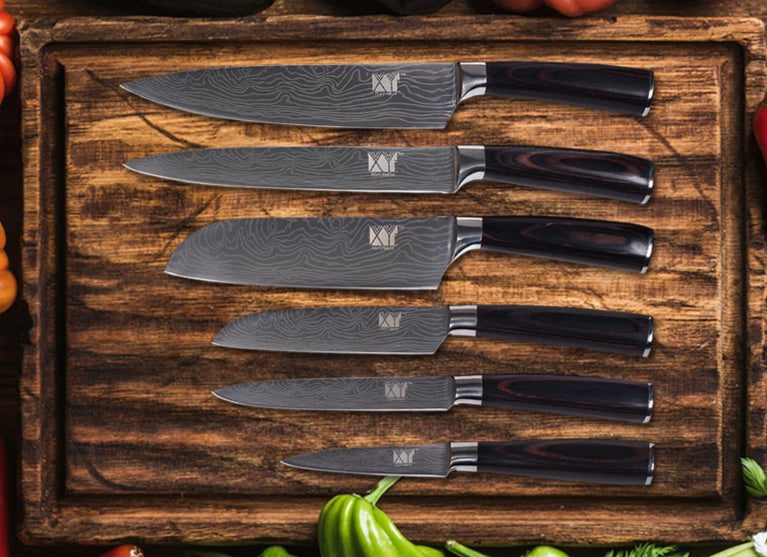 6pc Stainless Steel High Carbon 7Cr17 Knives Set