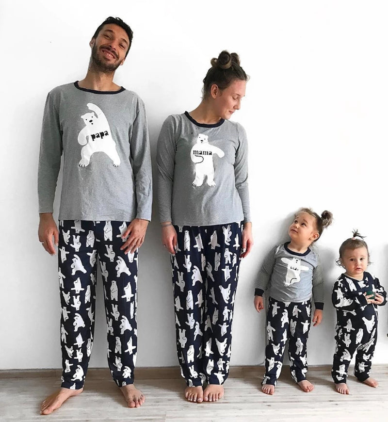 Christmas Family Matching Bear Print Pajamas Set