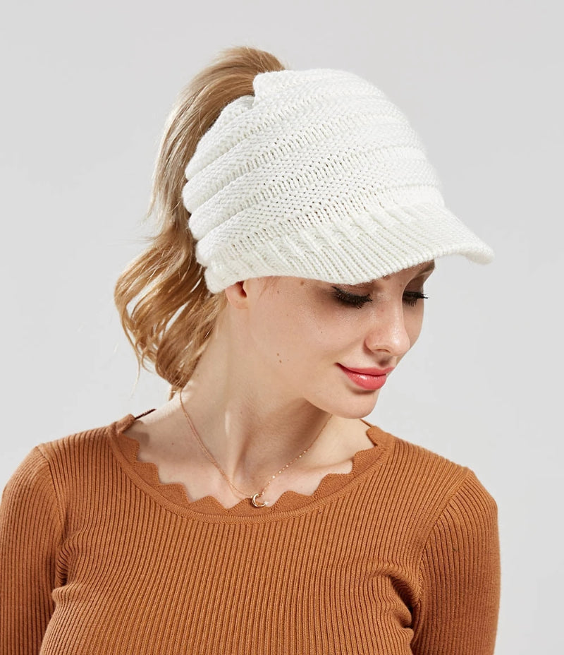 White Women's Messy Bun Ponytail Beanie Hat